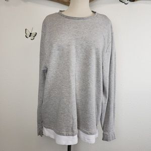 Asos gray distressed sweatshirt with faux layer